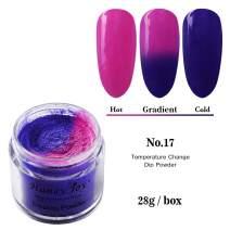 28g/Box Rose and Purple Temperature Color Change Dip Powder Nails Dipping Nails Long-lasting Nails No UV Light Needed, (W-No.17)