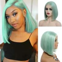 Short Lace Front Bob Wigs Brazilian Human Hair Wig 13x4 Swiss Lace Frontal Real Remy Hair Bob Wigs for Black Women Pre Plucked Bleached Knots Glueless Silky Straight 180% Density Mint Green 8 Inch