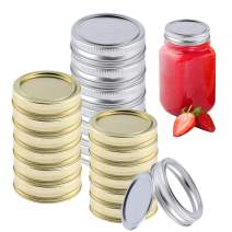 24 Mason Jars Lids Regular Mouth And Rings, Canning Jar Lids And Rings for Mason Jars, Split-Type Lids Leak Proof and Secure Canning Jar Caps and Rings with Silicone Seals (silver and gold)