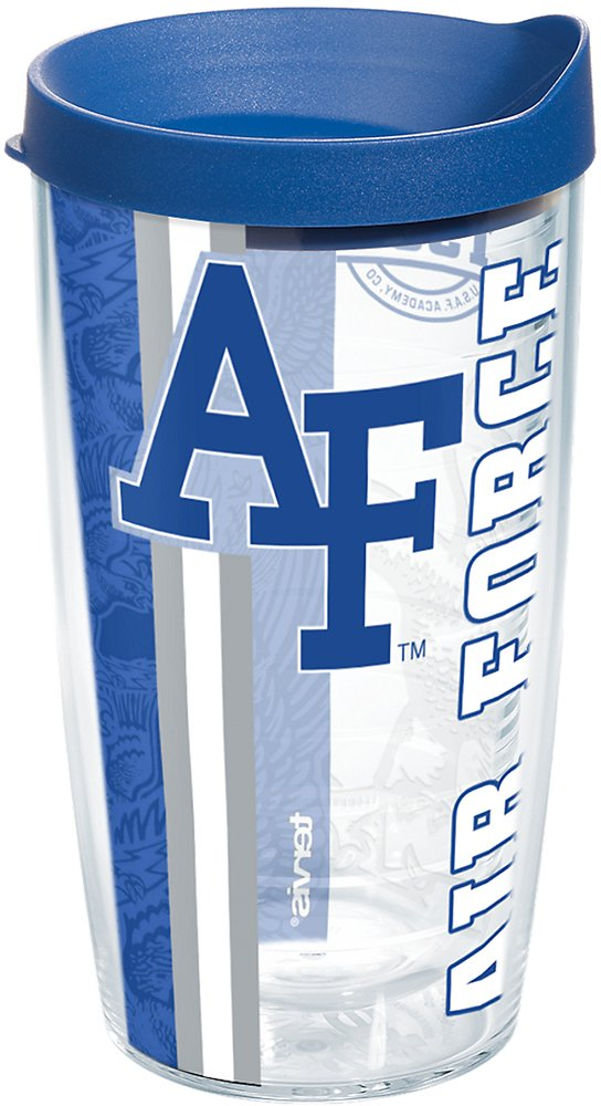 Tervis 1226952 Air Force Falcons College Pride Tumbler with Wrap and Blue Lid 16oz, Clear