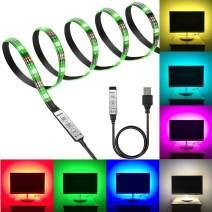 Black PCB TV Backlight Kit,Computer Case LED Light,eTopxizu 3.28Ft Multi-Colour 30leds Flexible 5050 RGB USB LED Strip Light with 5v USB Cable and Mini Controller for TV/PC/Laptop Background Lighting
