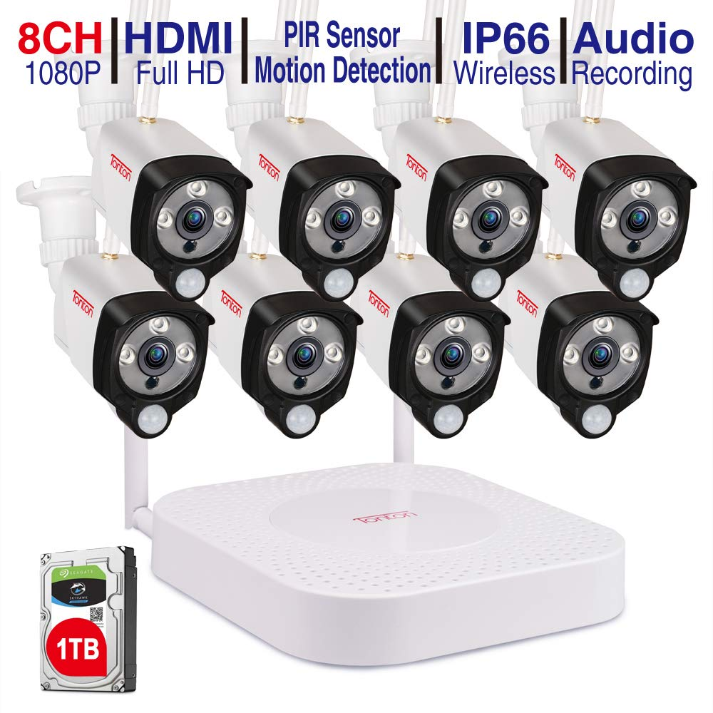 [Security Camera with Audio] Tonton 1080P Full HD Wireless Camera Security System,8CH NVR Recorder with 1TB HDD and 8PCS 1080P 2MP Waterproof Outdoor Bullet Cameras with PIR Sensor,Easy to Install