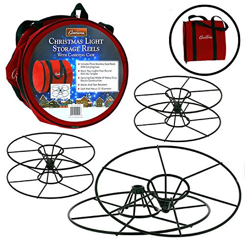 """Christmas Light 12"""" Storage Reels Container (3pk) - Heavy Duty Metal Construction with X-Mas Carrying Bag Case for House Tree Lights"""