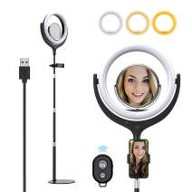 """Yoozon 10"""" LED Ring Light with Metal Base & Cell Phone Holder for Live Streaming/YouTube Video/Makeup, Dimmable 3000~6000K Touch Screen Ring Lights with Mirror for Tiktok/Self-Portrait Shooting"""