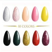 SHELLOLOH 10 Colors Nail Gel Polish Set Nail Art Manicure Soak Off Gel Polish UV Nail Lamp LED Cured Home Salon Gel Polish Kit 10ML