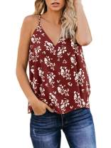 Womens Summer V Neck Floral Cami Tank Tops Plus Size Casual Sleeveless Halter Loose Blouse Shirts