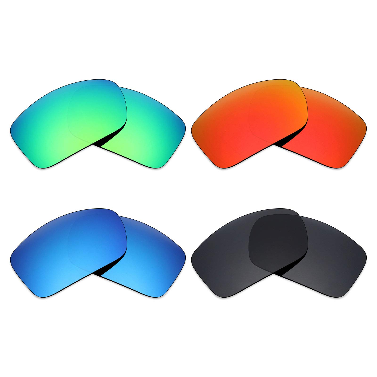 Mryok 4 Pair Polarized Replacement Lenses for Costa Del Mar Blackfin Sunglass - Stealth Black/Fire Red/Ice Blue/Emerald Green