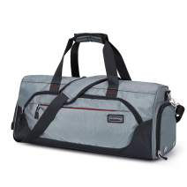 Plambag Sports Duffel Gym Bag with Wet Pocket & Shoe Compartment, Water-repellent Travel Weekender Bag(Gray)