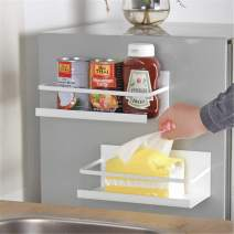 2 Pack White Magnetic Spice Rack Refrigerator, Spice Storage Fridge Magnet Shelf Kitchen Organizer Great Space Saver Small Kitchen Apartment…