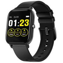 Smart Watch for Android Phone iPhone Compatible, IP67 Waterproof Fitness Tracker Heart Rate Blood Oxygen Pressure Sleep Monitor, Call Message Reminder Pedometer Calorie Counter for Men Women (Black)