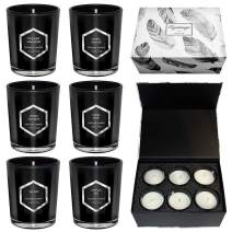 Scented Candles Gift Set, Red Flame Sexy Enchanting Candle, Natural Soy Wax With Strongly Fragrance Essential Oils For Stress Relief And Aromatherapy,Black Glass Jar 6 X 2.5 Oz