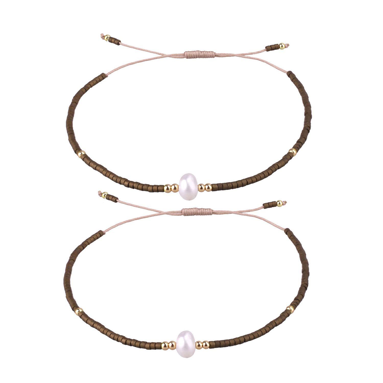 KELITCH 2 Pcs Womens Pearl Beads Strand Bracelets Miyuki Beaded Friendship Bracelets Bangles New