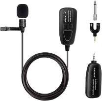 XIAOKOA Wireless Lavalier Microphone, 2.4G Wireless Microphone System with Lavalier Lapel Mics,Transmitter&Receiver for Conference, Speaker, Teaching, Tour Guiding, Stage Performance