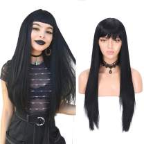 fani Straight Hair Wig with Bangs 22 inch Fashion Black Synthetic Middle Part Wig for women with Free Wig Cap
