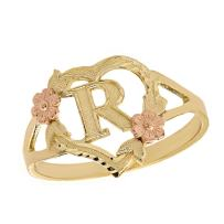 CaliRoseJewelry 14k Gold Initial Alphabet Personalized Heart Ring - Letter R