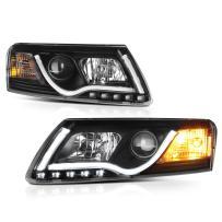 [For 2005-2008 Audi A6 Halogen Model] Black Housing OLED Neon Tube Projector Headlight Headlamp Assembly, Driver & Passenger Side