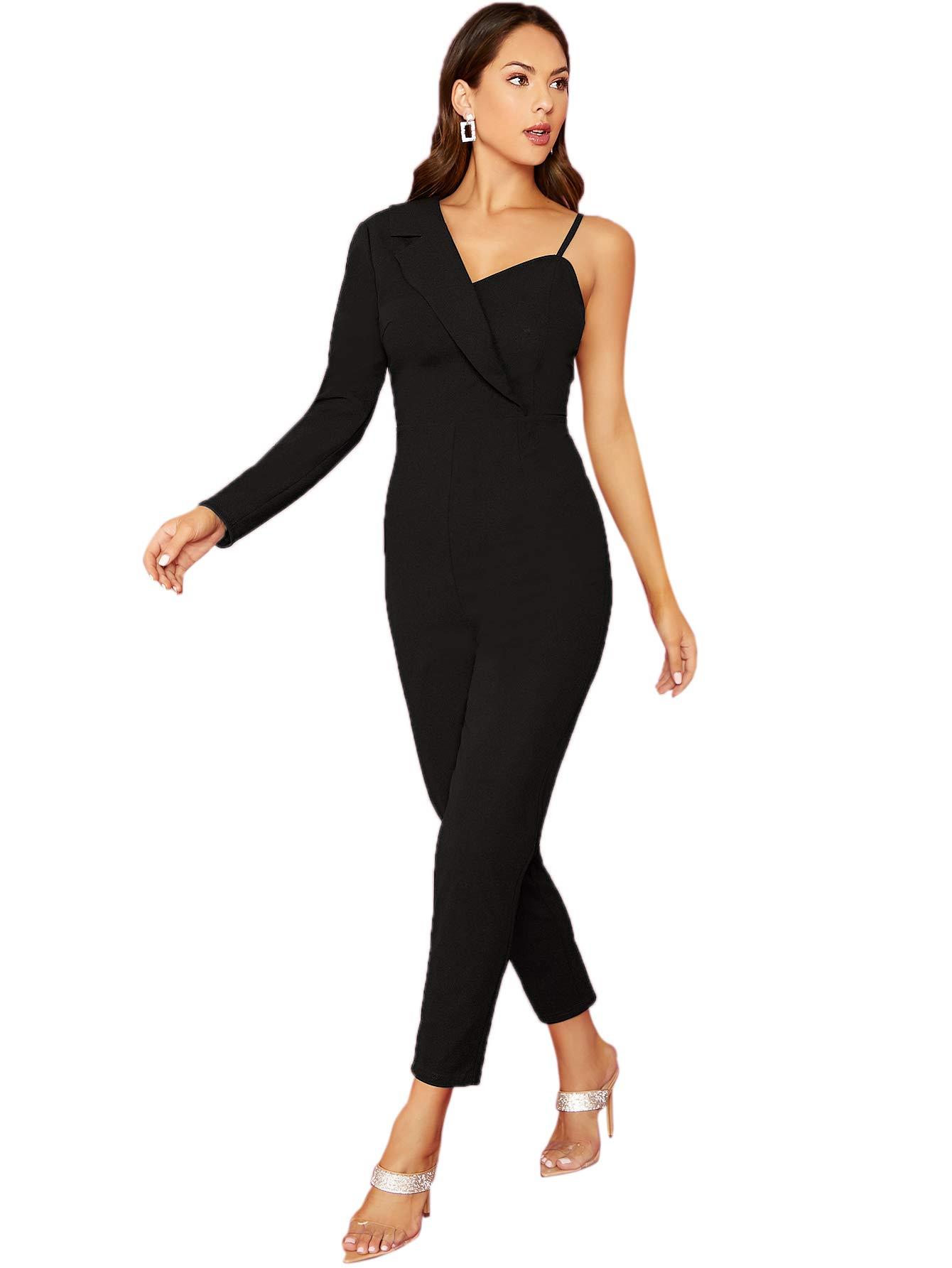 SOLY HUX Women's Elegant One Shoulder High Waist Long Sleeve Bodycon Jumpsuit