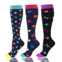 Compression Socks for Women & Men (20-30mmHg) - Athletic Compression Stockings Fit Sports, Nurses