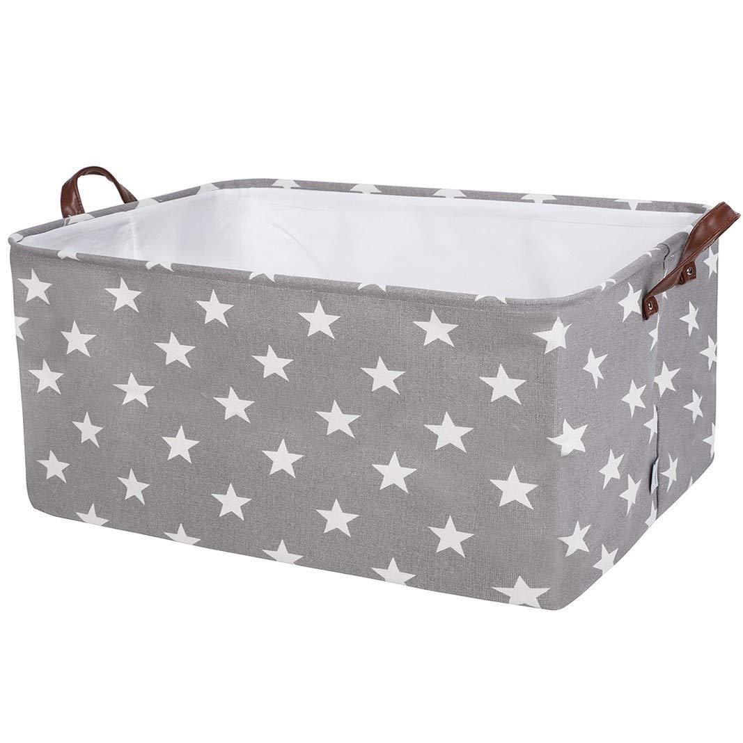 DOKEHOM 22-Inches Thickened X-Large Storage Basket -22x15x13 Inches- Drawstring Canvas Underbed Storage, Square Cotton Linen Collapsible Toy Basket (Grey Star, XL)