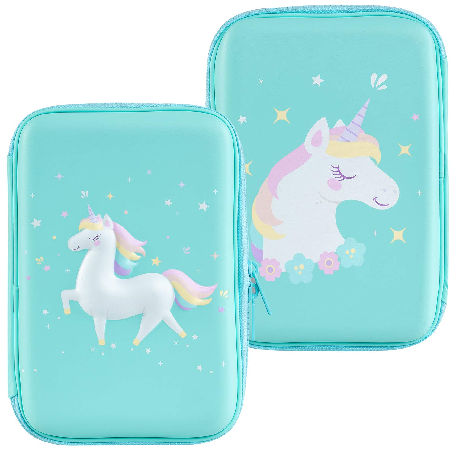 Gooji Unicorn Pencil Case for Girls (Hard Top) Magical 3D Creature, Bright Colored Storage Box | Compact and Portable Home, Classroom, Art Use | for Markers, Pens, Colored Pencils (Blue)