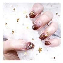 Fstrend Bridal Weeding Fake Nails Tip Rhinestone Glitter Moon Star Sequin Full Cover Acrylic Fashion False Nails Clip on Nails for Women and Girls(24Pcs)