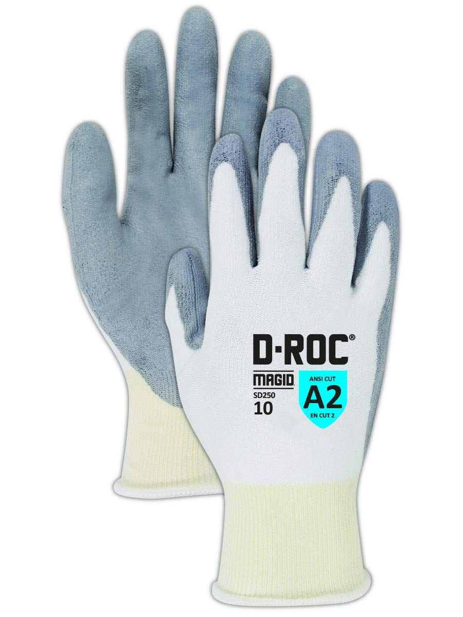 Magid Glove & Safety SD250-5 D-ROC SD250 HPPE Blend PU Palm Coated Gloves, Cut Level A2, Size 5, White (Pack of 12)