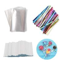 BAKER DEPOT 200 Pcs 2.36X3.54-Inch Opp Bags with 200 Pcs 3.15-Inch Twist Ties Mix Colors 200 Pcs Eco-friendly 2.95-Inch Paper Stick for Lollipop Candy Cake Pop Chocolate Cookie DIY Homemade Candy
