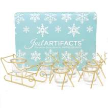 Just Artifacts 1pc Sleigh and 5pc Reindeer Tea Light Candle Holders (6pcs Kit, Gold) - Festive Holiday Décor for Christmas