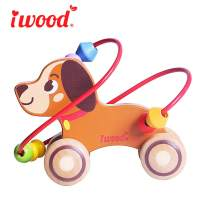 iwood Push and Pull Toys-Puppy Bead Maze Educational Wooden Pull Along Toys for 1 Year Old Toddlers Kids