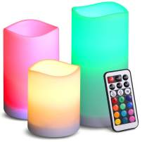 (Upgraded) Tea Lights with 24 Hours Timer, 2 Modes Battery Operated Candles Lights, 12 RGB Color Tea Lights, Realistic Flickering Light with Remote Control for Mood Lighting Seasonal Home Decor- 3 PCS
