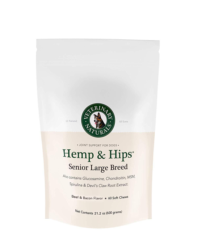 Veterinary Naturals Hemp & Hips Dog Joint Supplement - Glucosamine and Hemp Oil for Dogs - 'Senior Large Breed' Dog Arthritis Supplement - Soft Chew Senior Dog Vitamins (Beef N Bacon)