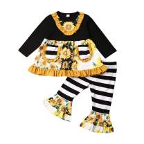 Newborn Infant Baby Floral Clothes,Autumn Girl Boy Long Sleeve Tops+Long Pants 2Pcs Outfits Set,0-4 Years