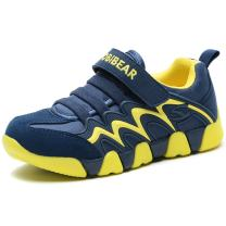 BODATU Boy's Girl's Sneakers Comfortable Running Shoes Navy/Yellow, 8.5 Toddler