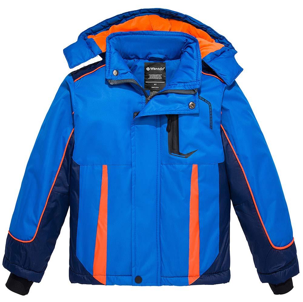 Wantdo Boy's Waterproof Ski Jacket Fleece Lined Winter Coat Hooded Rain Coat