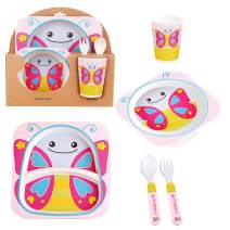 5 Pcs Animal Shaped Bamboo Fiber Portable Children's Cutlery Set Toddler Feeding Dishes Kids Dinnerware Gift Sets Butterfly