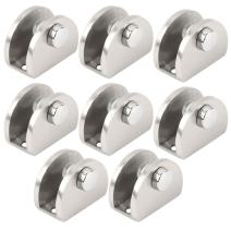 uxcell Stainless Steel Home Cabinet Door Glass Clamp Shelf Brackets Fixing Clips Holder 8pcs