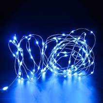 YestBuy 106 LED 17ft/5.3m LED Battery Operated Starry Fairy String Light, Decorative Copper Wire Lights for Cupcake Stand,Indoor, Bedroom Festival Christmas Wedding Party Patio Window (Blue, 5)