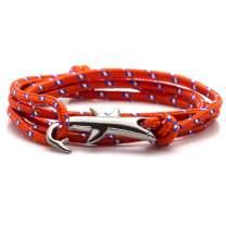 Heavstjer Fashion Gun Black Alloy Shark Tail Hook Colorful Rope Link Bracelet