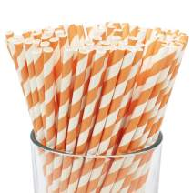 Just Artifacts 100pcs Premium Biodegradable Striped Paper Straws (Striped, Peach)