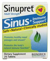 Sinupret Adult Strength Sinus + Immune Support All Natural, Fast Acting Herbal Nasal Passage & Immunity Boost Supplement with Verbena & Elder Flower - 25 Tablets