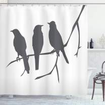 """Lunarable Birds Shower Curtain, Silhouettes of Cormorants Flock on a Branch Greyscale Illustration of Nature, Cloth Fabric Bathroom Decor Set with Hooks, 70"""" Long, Grey White"""