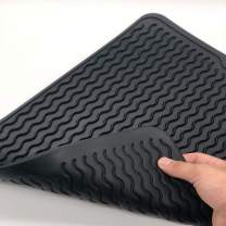 VARUN Silicon Dish Drying Mats, Non-Slip & Heat Resistant Trivet,Durable Kitchen Drainer pad, Black Large16'' X 12'',Eco-Friendly and BPA Free, Dishwasher Safe