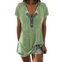 Sunhusing Price!Women's Button Buckle Casual Short Sleeve T-Shirt Neckline Patchwork Shirt