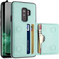 LakiBeibi Galaxy S9 Plus Case with Card Holders, Dual Layer Lightweight Slim Leather Wallet Card Slot Flip Galaxy S9 Plus Case with Screen Protector for Samsung Galaxy S9 Plus 6.2 Inch (2018), Mint