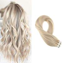 Moresoo 16 Inch Glue on Color Ash Blonde #18 Highlighted with Bleach Blonde #613 Tape on Hair Extensions Human Hair Skin Weft Tape in Hair Extensions Brazilian Hair 100g 40 Pieces