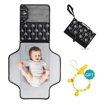 """Portable Diaper Changing Pad - Large 23.5"""" x 21.75"""" Baby Change Travel Mat - Soft Infant Changing Table Pad with Pockets - Waterproof Newborn Changer Pads with Magnetic Clip Clutch Design(Arrow)…"""