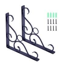 """Yizhen-G Cast Iron Antique Style Shelf Bracket Black 8.3"""" 2pcs"""