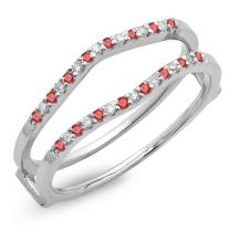 14K Gold Round Ruby Ladies Anniversary Wedding Band Enhancer Guard Double Ring
