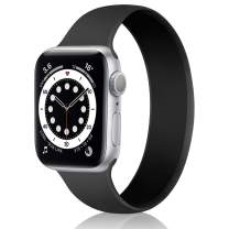 Relting Stretchable Solo Loop Band Compatible with Apple Watch SE iWatch Series 6/5/4/3/2/1 38mm 40mm 42mm 44mm Sport bands Elastic Women Men Liquid Silicone Replacement Strap