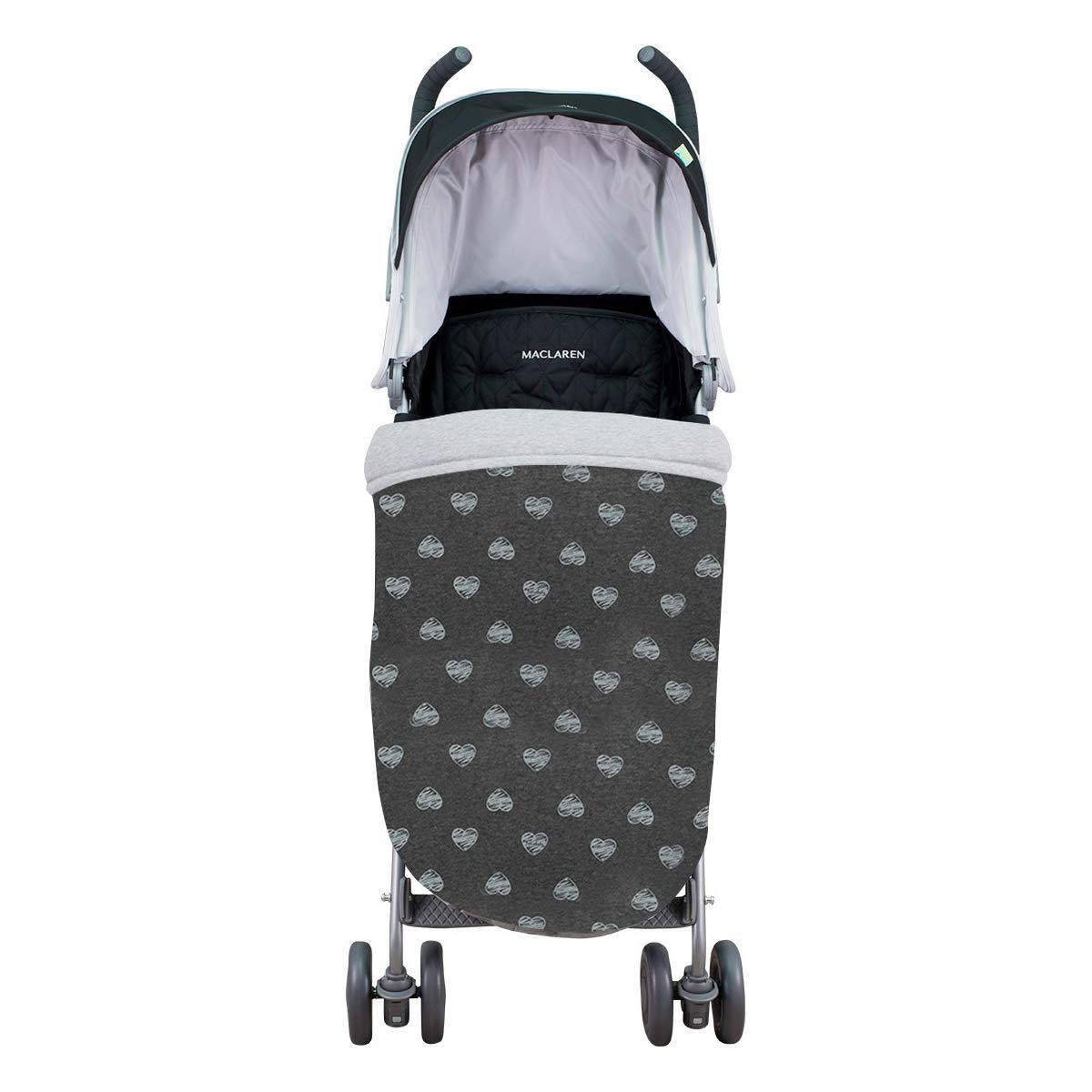 Janabebé Universal Baby Blanket Footmuff for Pushchairs (Blue Heart, Cotton)